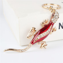 Gecko Wall Lizard Pendant Charm Rhinestone Crystal Purse Bag Keyring Key Chain Accessories Wedding Party Holder Keyfob Gift