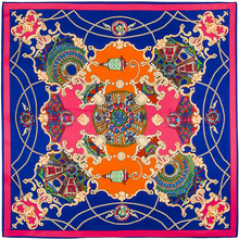 100cm*100cm 100% Twill Silk Euro Brand French design Night sky Hofgarten palace garden Printed Women Square Silk Scarves 3101