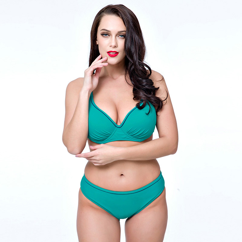 PNT 2017 New Plus Size Bikini Women Solid Push Up Swimsuit Beach wear Large Cup Bathing suit Female Biquini set Design Beachwear<br><br>Aliexpress
