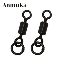 Anmuka 10pcs Stainless Steel Carp Fishing Tackle Long body rolling swivel solid ring Matt Black Connector Fishing Accessories