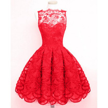 Dress Hot Sale Polyester Bohemian Ball Gown Solid Knee-length Tank Empire O-neck 2017 Lace Collar Sleeveless(China)
