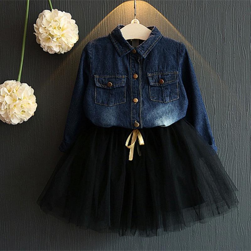 2017 New Children Clothing Set Denim Jacket and Gauze Tutu Skirt Baby Girl Dress Girls Casual Kids Clothes Set Autumn<br><br>Aliexpress