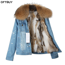 brand 2017 new autumn winter jacket coat women Holes Denim jacket real large raccoon fur collar real rabbit fur thick warm Liner