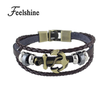 Men Women Jewelry Black Coffee White Pu Leather Wrap Anchor Viking Bracelet Multilayer Chain Women Men's Bracelet Wristband