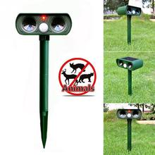 Newest Outdoor Use Animal Repeller Cat Dog Pest Repeller Solar Power Ultra Sonic Scarer Frighten Animal Repellent(China)