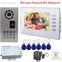 SUNFLOWERVDP Rfid Keychains Video Intercoms IP65 Waterproof Door Bell Camera 7inch Monitor Color LCD Video Call Code System Unit