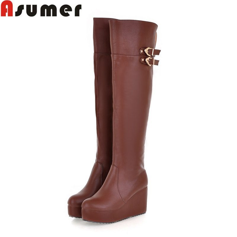 large size 34-43 over the knee boots new arrive pu leather women boots wedges round toe buckle autumn winter boots<br><br>Aliexpress