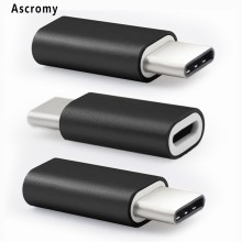 Ascromy 10PCS USB C Adapter for LG V20 Huawei P9 Microsoft Lumia 950 HTC Bolt ZTE Axon 7 BLU Pure XR Aluminum Black USBC Adaptor