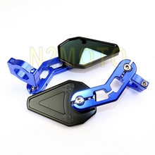 Bar End Rearview Mirror Custom Universal MINI Driven Racing blue CNC Motorcycle Side Convex Mirrors Small Handle