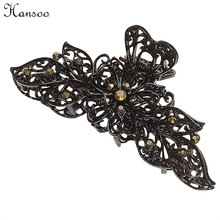 Hansoo Women hairpin big bowknot black alloy 9cm floral hair claws Crystal hair lady accessory hair clips girls Hairbands(China)
