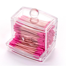 New Creative Makeup Organizer Clear Acrylic Cosmetic Cotton Swab Q-tip Storage Holder Box Transparent Case HG0025