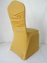 100pcs Gold Swag Stretch Wedding Chair Covers Cross Back Lycra Spandex Chair Covers For Banquet Hotel Decoration