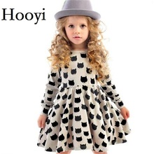 Hooyi Grey Girls Dresses Fashion Kitty Cat Children Dress Long Girl Jumpers Baby Girl Clothes Outfits Princess Wedding Vestidos