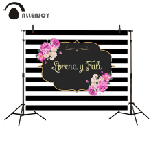 Allenjoy new arrivals backdrops Black white stripes flowers golden frame backdrop wedding theme photocall camera fotografica(China)