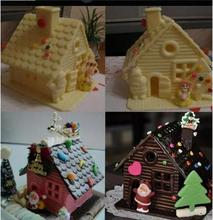 Fashion Funny DIY Cake Chocolate Christmas House Candy Mould Plastic Jelly Pudding Handmade Sugarcraft Mold Free Shipping(China)