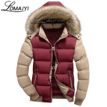 LOMAIYI 7 Colors Men's Down Jacket With Fur Hood Fashion Brand Mens Parka 4XL Slim Outerwear Coat Men Warm Winter Jackets,BM048