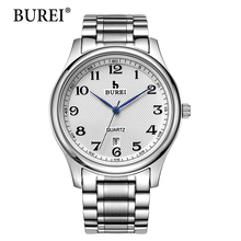Men Watches Top Fashion Brand BUREI Hours Mineral Glass Steel Band Calendar Display Waterproof Quartz Wrist Watch Hot Sale Gift(China)
