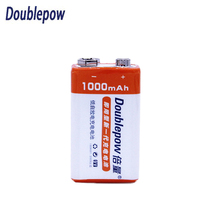 Doublepow High Capacity Li-Ion battery Rechargeable 9V Batteries 1000mAh Battery  for Microphone