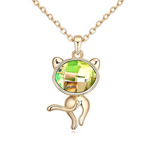 Pleasant Cat Pendant Necklaces Made with Swarovski Element Fashion Women Jewellery Sweet Crystal Bijoux Mujer Nice Birthday Gift