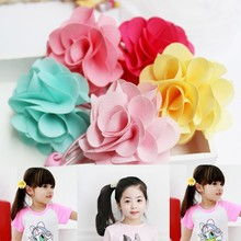 5 Colors! New Fashion Girls Elastic Hair Bands Pink Red Flower Ponytail Holder Rope Kids Hair Barrette Accessories