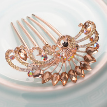 Fashion Peacock Metal Hair Comb Gold Plating Women Costume Hair Jewelry Banquet Hair Comb Accessories