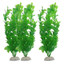 3Pcs Fish Tank Aquarium Decor Green Artificial Plastic Grass Plant Ornament New