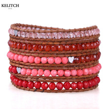 KELITCH Jewelry 1Pcs Natural Red Coral Crystal Heart Beads Multilayers Bohemian 5 Wrap Friendship Bracelet For Women Pulsera(China)