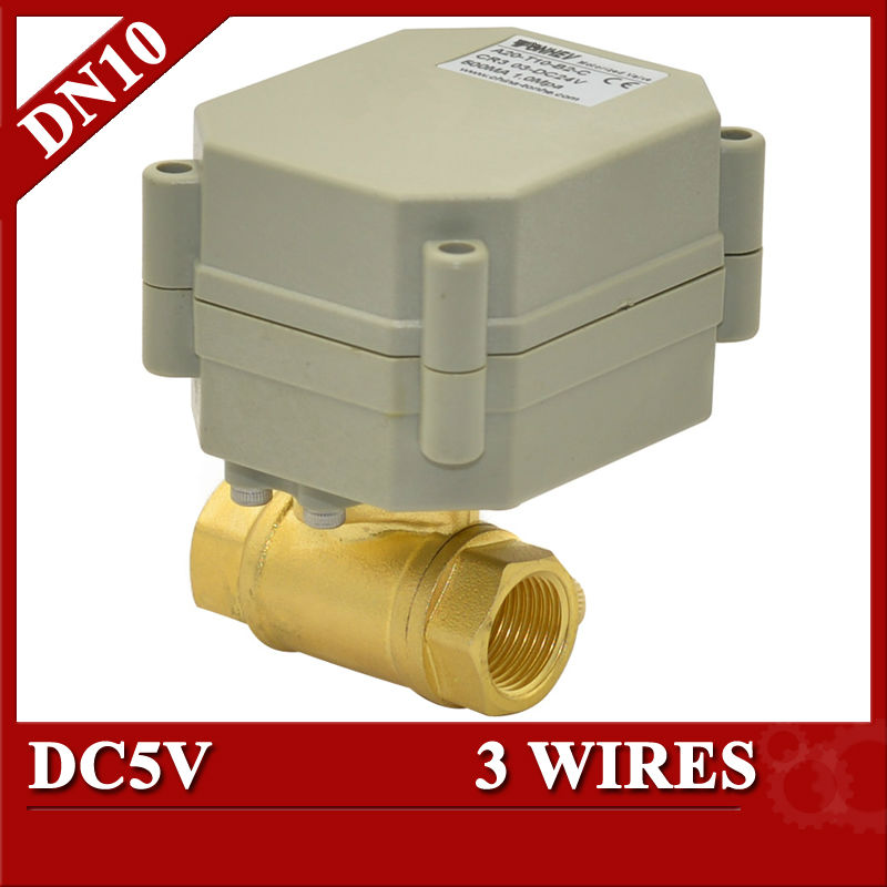 3/8 Electric valve Brass, DC5V Electric motorized valve 3 wires, DN10 electric valve  for automatic control<br><br>Aliexpress