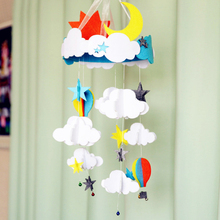 Sewing Soft Baby Bed Ornaments Handmade DIY Kids Toys Cloud/ Moon / Sun / Balloon Styles Felt Aeolian Bells Wall Hanging Decor(China)