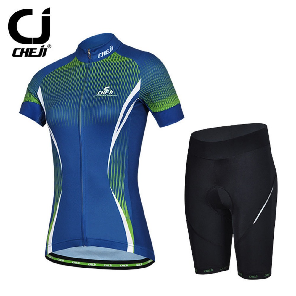 CHeji Bike Team Set Women Cycling Jersey And Gel Padded Shorts Bicycle Kit S-XXL<br><br>Aliexpress