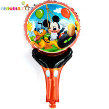Sale Real Ballon 5pcs Cute Cartoon Hand Held Foil Balloons, Minie And Mickey Printed Handheld Toys For Kid Gift Balloon
