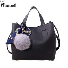 FUNMARDI Fashion Casual Leather Bags New Vintage Women Handbags With Scarf Star Style Totes Simple Design Shoulder Bags WLAM0065(China)