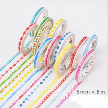 10 pcs/lot TANGPOOL Washi Tape Wholesale 5mm*8m Lace Masking Tape for Crafts Scrapbooks Planners Decorating Free Shipping