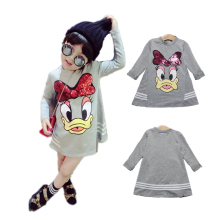 cartoon cute thick Winter girl dress Donald Duck pattern velvet cotton dress for 2-8yrs girls female children's clothes dress(China)