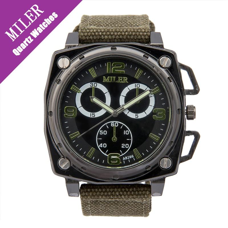 Miler Square Male Watch Casual Fashion Brand Quartz Watch Military Sports Mens Canvas Wrist watches Vintage Clocks Relogio<br><br>Aliexpress