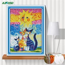 AZQSD Cartoon crafts painting counted print on canvas 11CT 14CT Cross Stitch embroidery Cats under the sun needlework Sets k990