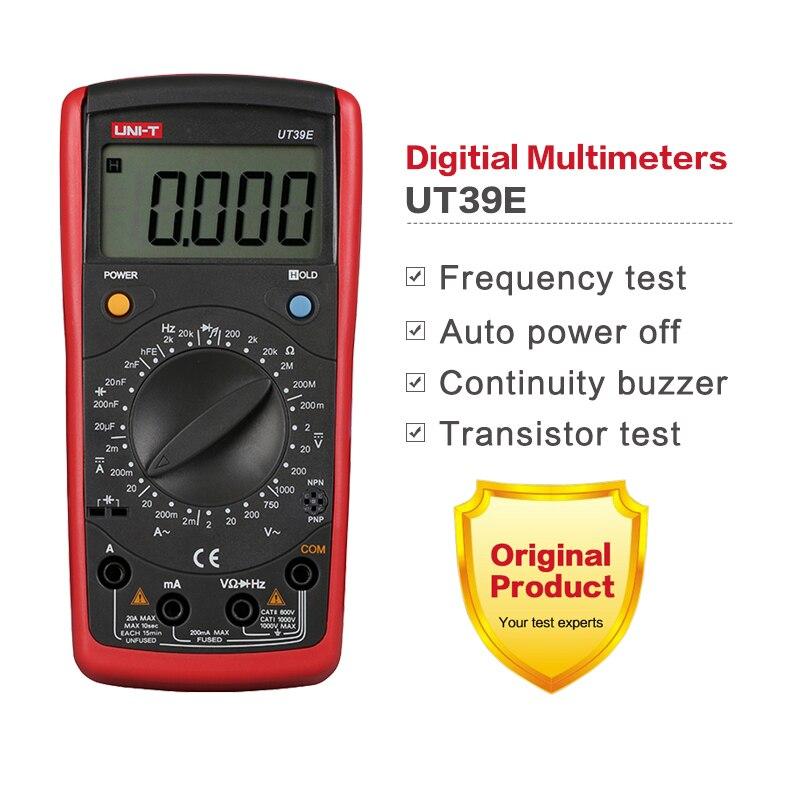 1pcs UNI-T UT39E Manual Range Digital Multimeters UT39E Transistor DC AC Volt Ampere Resistance Capacitance Frequency Meter<br><br>Aliexpress