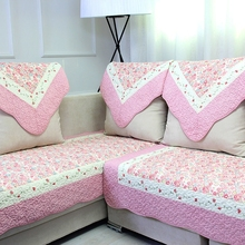 Modern embroidery pastoral style striped pattern printed pattern cotton material  cloth quilted living Drawing room sofa cover