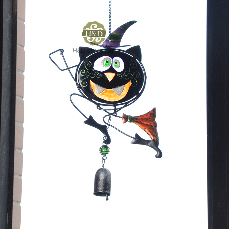 16 5 9 Inch Black Cat Magican Wind Bell Wall Car Metal Gl Hanging Decoration Home Garden Design Crafts Ornaments Diy Gifts