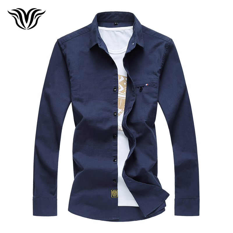 VORELOCE brand men's casual solid color long-sleeved shirt 2018 autumn bamboo cotton large size fashion creation shirt M-7XL