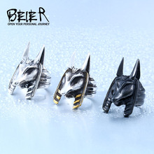 Stainless Old Egypt God Style Jackal Head For Man Unique Titanium Steel Ring BR8-363(China)