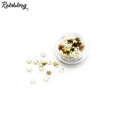 Rolabling 1PC/BOX Tan Snow Flake Design Nail Glitter Powder Dust Nail Art Accessories UV Gel Polish Decoration Powder For Nails