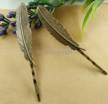 52x12mm Blank Bobby Pins Bases Settings Feather pads Hair Clip Hairpins Crafts DIY Findings Antique bronze tone