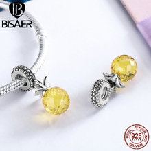 925 Sterling Silver Pendants Love of Pineapple, Yellow AAA Zircon Fruit Charms Fit Original Pandora Bracelets & Necklaces ECC150