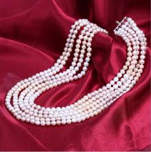 1031+++6-7mm Multi layer natural fashion pearl necklace jewelry manufacturers sell well(China)