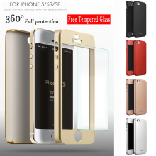 Original iPaky 360-Degree Protective Hard Ultra thin Cover Case For iPhone SE 5 5S Tempered Glass Gift free