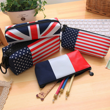 Office Stationery National Flag Pencil Case Student Gift Buffets Pencil Bag Canvas+PU Material Escolar School Supplies 3 Size