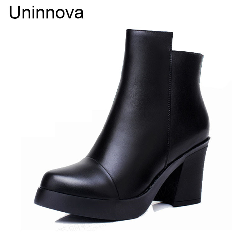 Uninnova Womens Round Toe Warm Plush Boots Mid-calf Boots Shoes Black Boots Small Size 32 Plus Size 43 WB022<br>