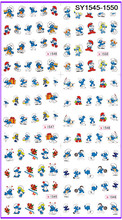 6 PACK/ LOT  GLITTER WATER DECAL NAIL ART NAIL STICKER CARTOON BLUE ELF SY1545-1550