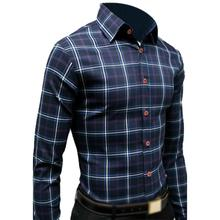 HOT SALE!New Men's Slim Fit Long-Sleeve Plaid Shirt Casual Shirts Male Cotton Dress Shirts Tuxedo Shirts XL 05(China)